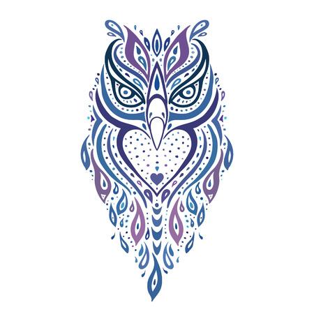 tatouage oiseau: Chouette décorative. Motif ethnique.