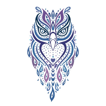 tattoo drawings: Decorative Owl. Ethnic pattern.