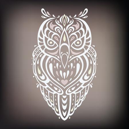 aztec art: Decorative Owl. Ethnic pattern.