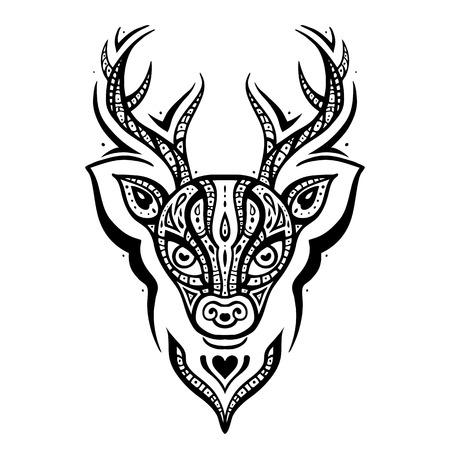 Deer head. Ethnic pattern. Illustration