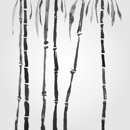 black and white image: Bamboo in Chinese style.