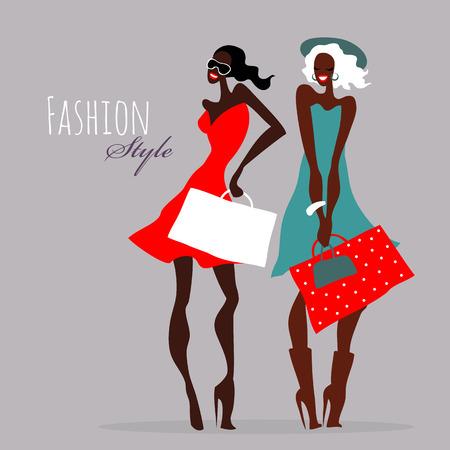 Fashion girls. Women with shopping bags. 일러스트
