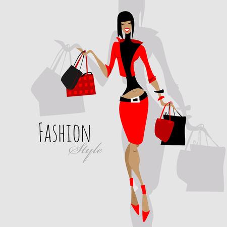 estilo: Chica de moda. Mujer con bolsas de la compra. Vectores
