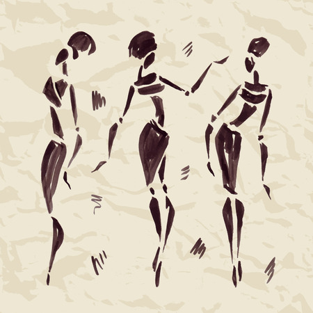 Figures of african dancers. Hand drawn Illustration. Иллюстрация