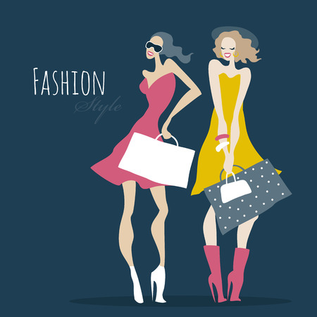young people fun: Fashion girls. Women with shopping bags. Illustration