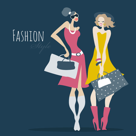 glamour shopping: Fashion girls. Women with shopping bags. Illustration