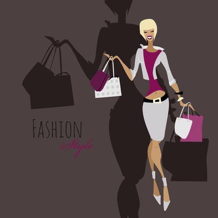 Fashion girl. Woman with shopping bags.
