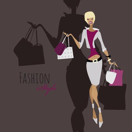 urban fashion: Fashion girl. Woman with shopping bags.
