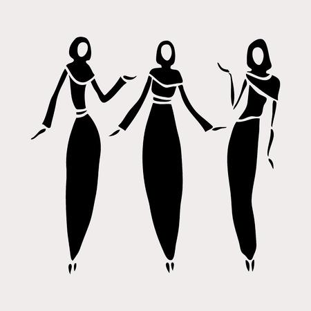 hijab: East women in veiled.