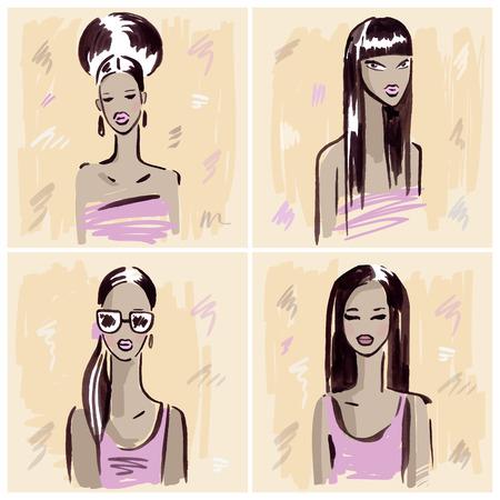 fashion portrait: Fashion girl.  Hand drawn Portrait.