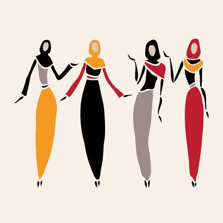 femmes muslim: les femmes de l'Est dans voil�e. Illustration
