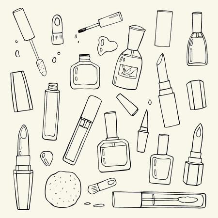 fashion illustration: Cosmetics.  Makeup set. Illustration