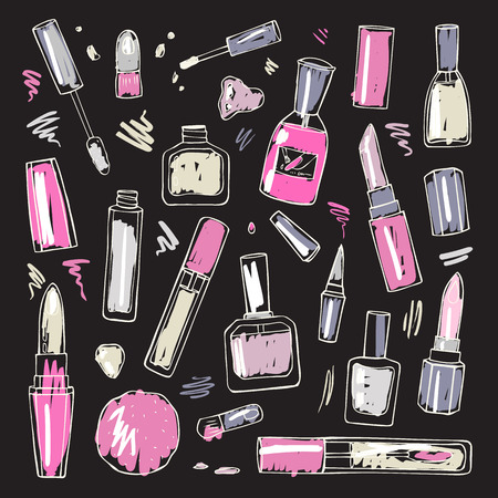 make up products: Cosmetics.  Makeup set. Illustration