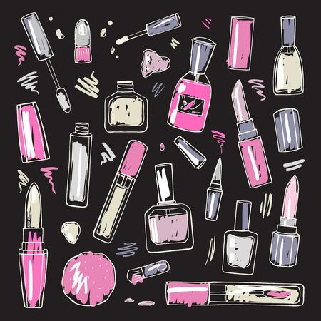 Cosmetics.  Makeup set. Ilustrace