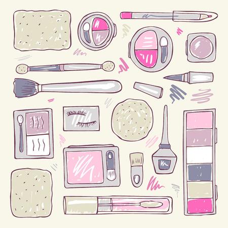 Produits de maquillage fixés. Cosmétiques. Tiré par la main illustration vectorielle.
