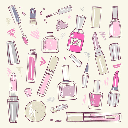 make up products: Makeup products set. Cosmetics. Hand drawn Vector Illustration.