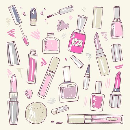 Productos de maquillaje fijados. Cosméticos. Dibujado a mano ilustración vectorial. Ilustración de vector