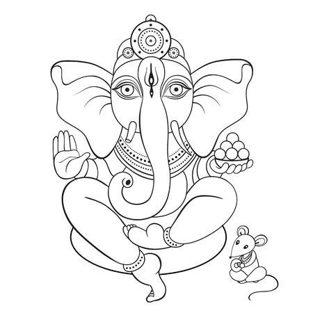 lord ganesha: Lord Ganesha Hand drawn illustration.