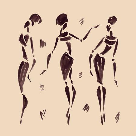 danza africana: Las figuras de bailarines africanos. Dibujado a mano ilustración.
