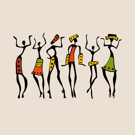 african fashion: African silhouette set.