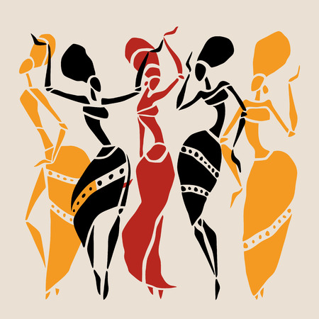 tribal woman: African silhouette set.