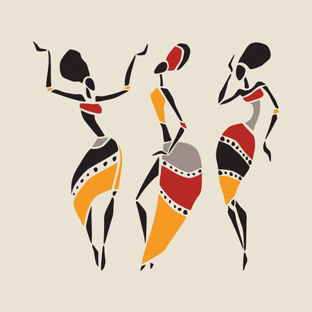 arte africano: Bailarines africanos silueta conjunto. Vectores