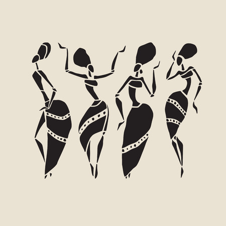 african lady: African silhouette set.