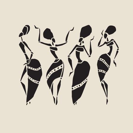 Afrikaanse silhouet in te stellen. Stock Illustratie