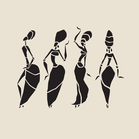 tribal dance: African silhouette set.