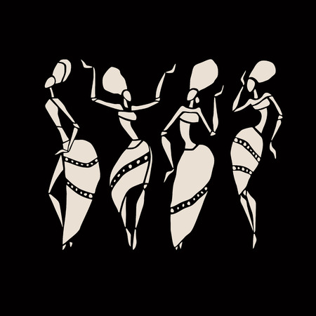 traditional dance: African silhouette set.