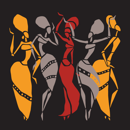 character of people: African dancers silhouette set. Illustration