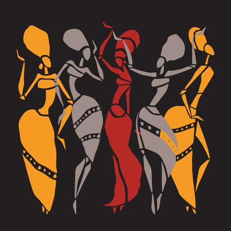 african culture: African dancers silhouette set. Illustration