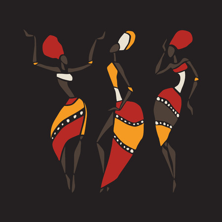 dancers silhouette: African dancers silhouette set. Illustration