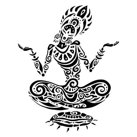 요가 명상 로터스 포즈. 손으로 그린 그림. 폴리 네 시안 스타일의 문신.