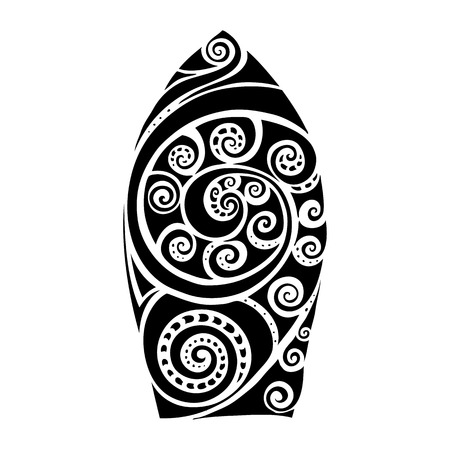 Surf board. Illustration in the Polynesian style tattoo.