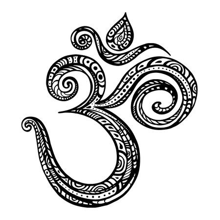 disegni cachemire: Om simbolo Aum, ohm. Disegnata a mano illustrazione dettagliata di vettore.