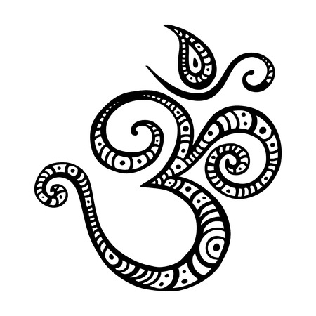 sanskrit: Om symbol Aum, ohm. Hand drawn detailed vector illustration.