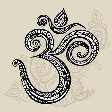 simbolo: Om simbolo Aum, ohm. Disegnata a mano illustrazione dettagliata di vettore.