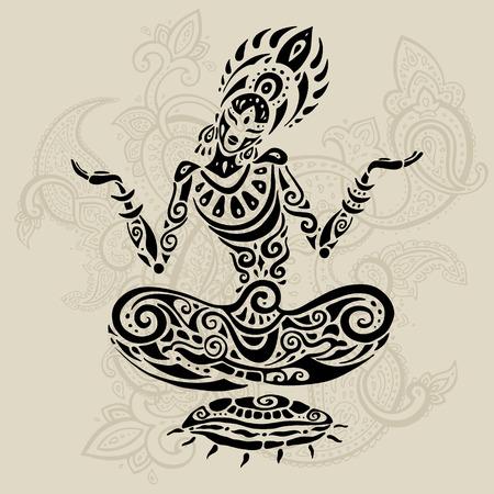 ヨガ瞑想ロータス ポーズ。手描きイラストです。ポリネシアン スタイルのタトゥー。