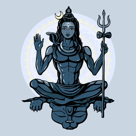 sadhu: Lord Shiva Hindu god Pose meditation. Vector illustration. Illustration