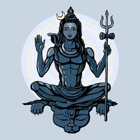 seigneur: Seigneur Shiva dieu hindou Pose m�ditation. Vector illustration.