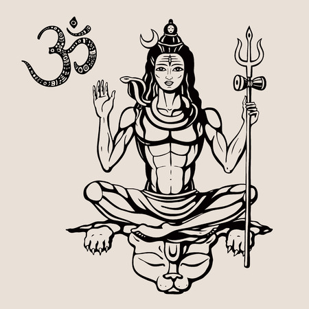 Lord Shiva Hindu god Pose meditation. Vector illustration.  イラスト・ベクター素材