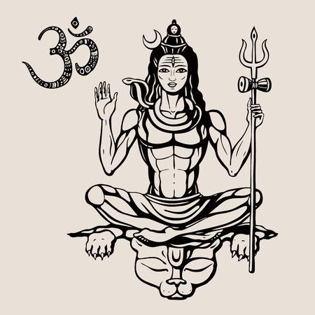 Lord Shiva Hindu god Pose meditation. Vector illustration. Vectores