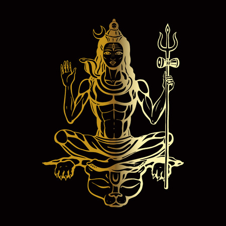 Lord Shiva Hindu god Pose meditation. Vector illustration. Çizim