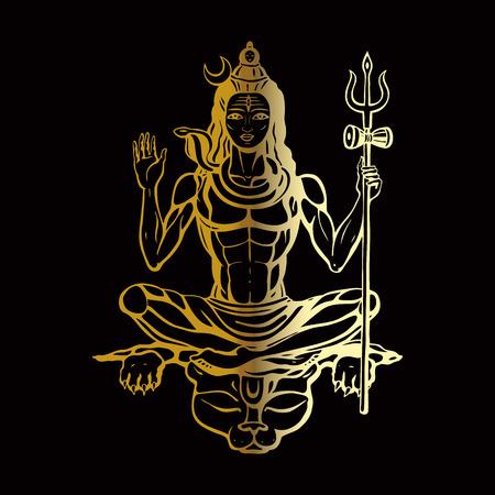 outlinear: Señor Shiva dios hindú Pose meditación. Ilustración del vector.