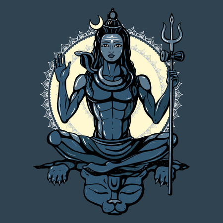 shakti: Lord Shiva Hindu god Pose meditation. Vector illustration. Illustration