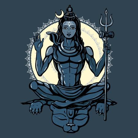 hindu god: Se�or Shiva dios hind� Pose meditaci�n. Ilustraci�n del vector.