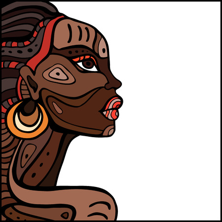 yellow african: Profile of beautiful African woman. Hand drawn ethnic illustration. Illustration