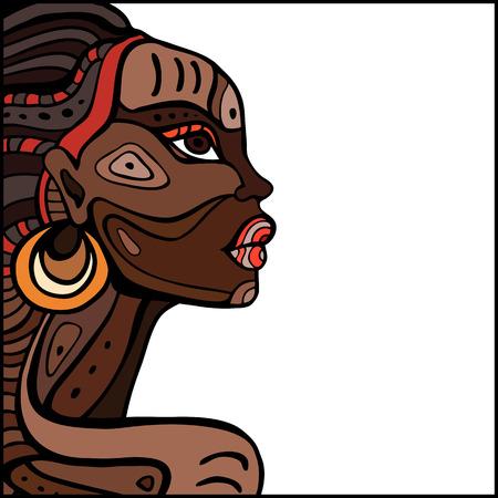 persone nere: Profilo di bella donna africana. Disegnata a mano illustrazione etnica. Vettoriali