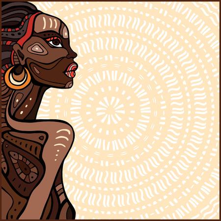 Profil der schönen afrikanischen Frau. Hand gezeichnet ethnischen Illustration. Standard-Bild - 42583641